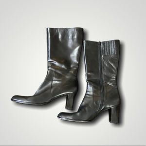 VANELi | black leather short heeled calf boots